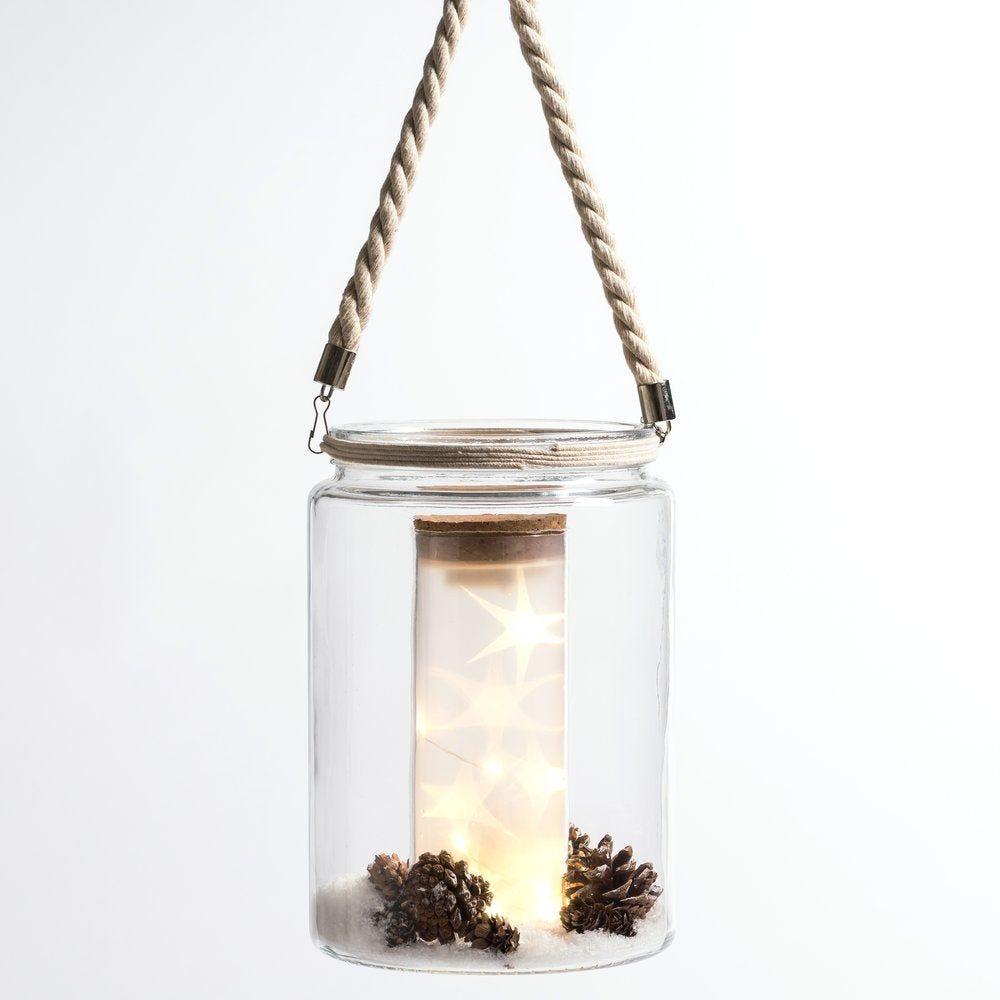 Photophore en verre transparent avec déco et led intérieur D 18 x H 27cm (photo)