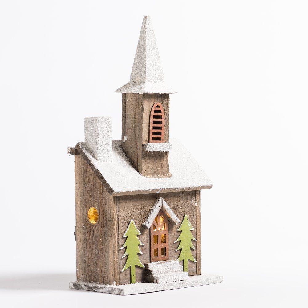 Maison en bois enneigée avec lumière L 22 x P 13 x H 43 cm (photo)