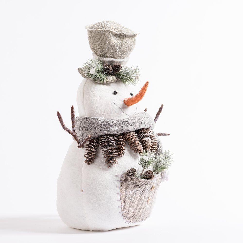 Bonhomme de neige blanc et gris H 53 cm (photo)