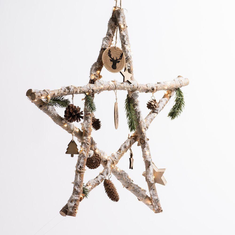 Etoile en bois décorée et enneigée avec leds L 60 x H 59 cm (photo)