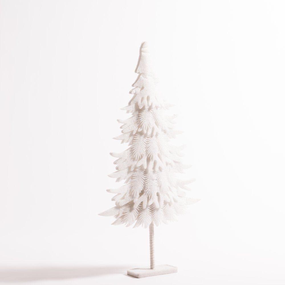 Sapin en ouate blanc sur socle L 63 x H 118 cm (photo)