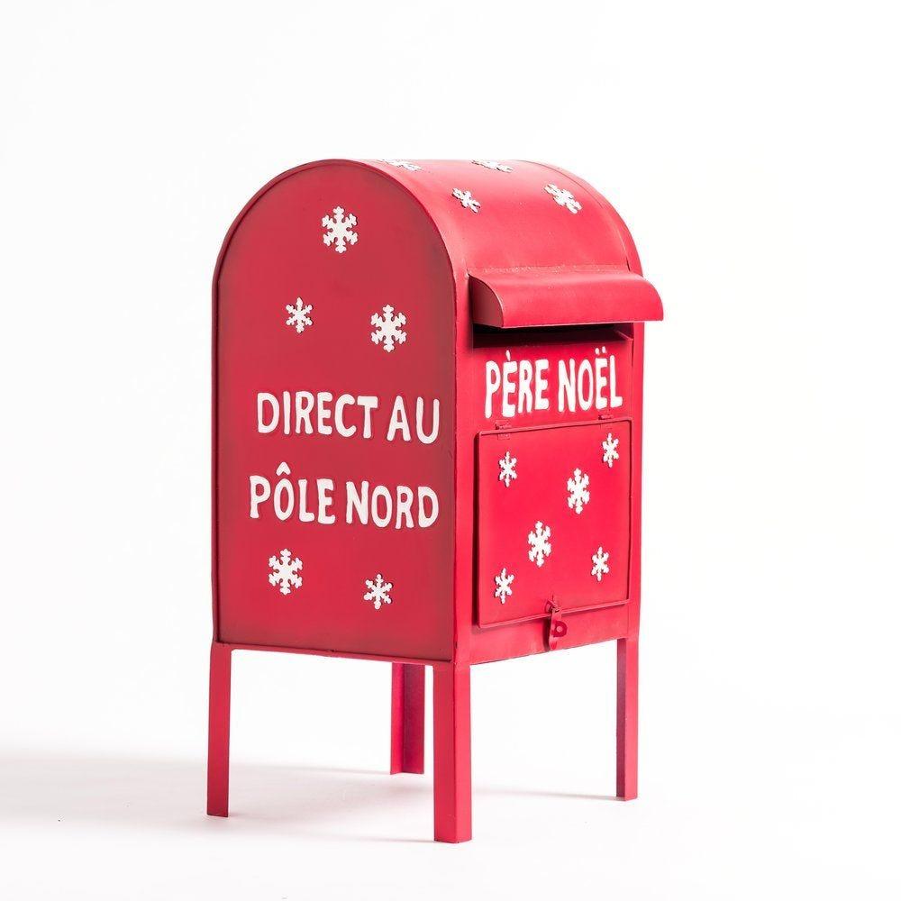 Boîte aux lettres Père Noël en métal rouge L 27 x P 27 x H 52 cm (photo)