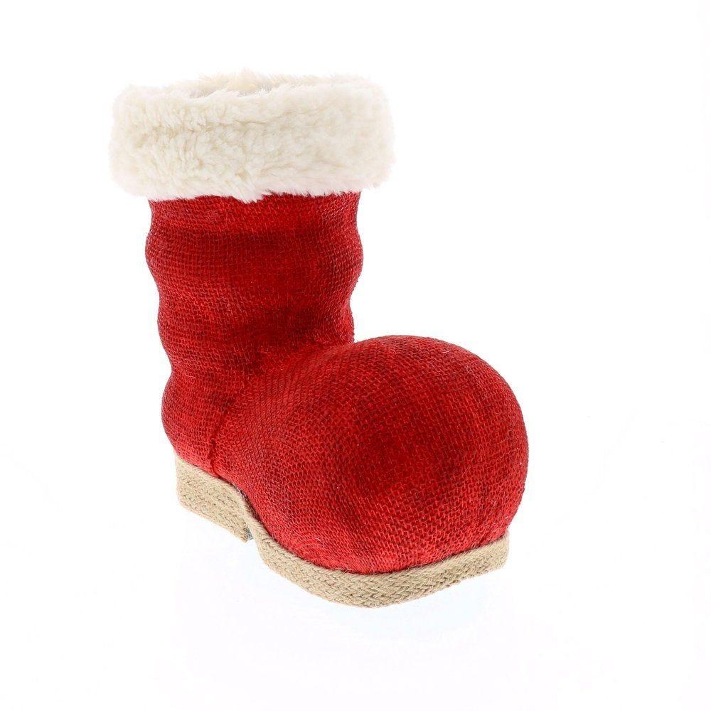Botte du père Noel rouge et blanc L 25 x P 14 x H 24 cm (photo)