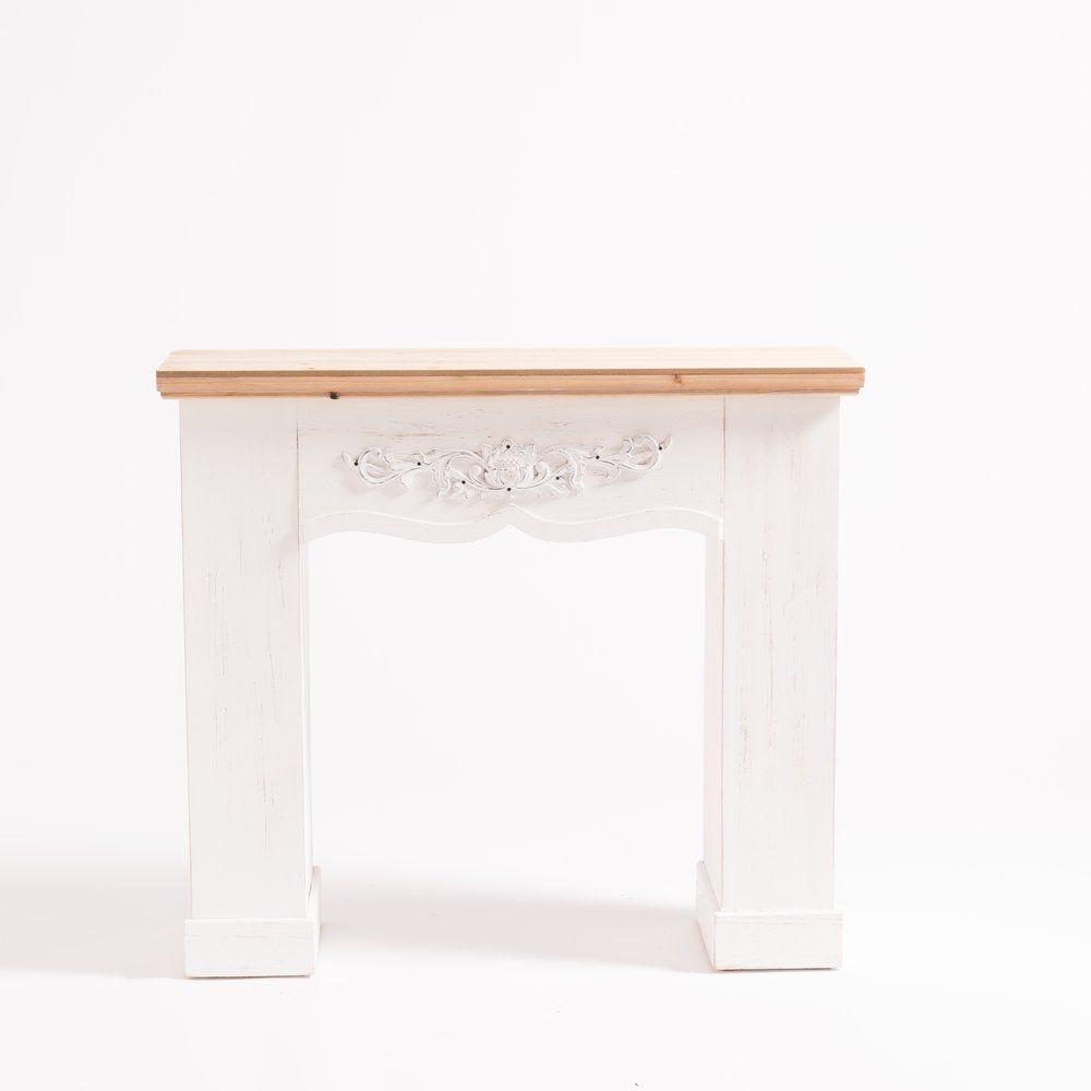 Cheminée bois blanc et top en bois naturel L 90 x P 30 x H 80 cm (photo)