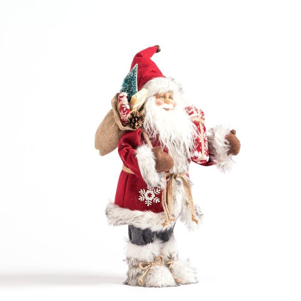 Père noël rouge avec hotte et cadeau H 46 cm (photo)