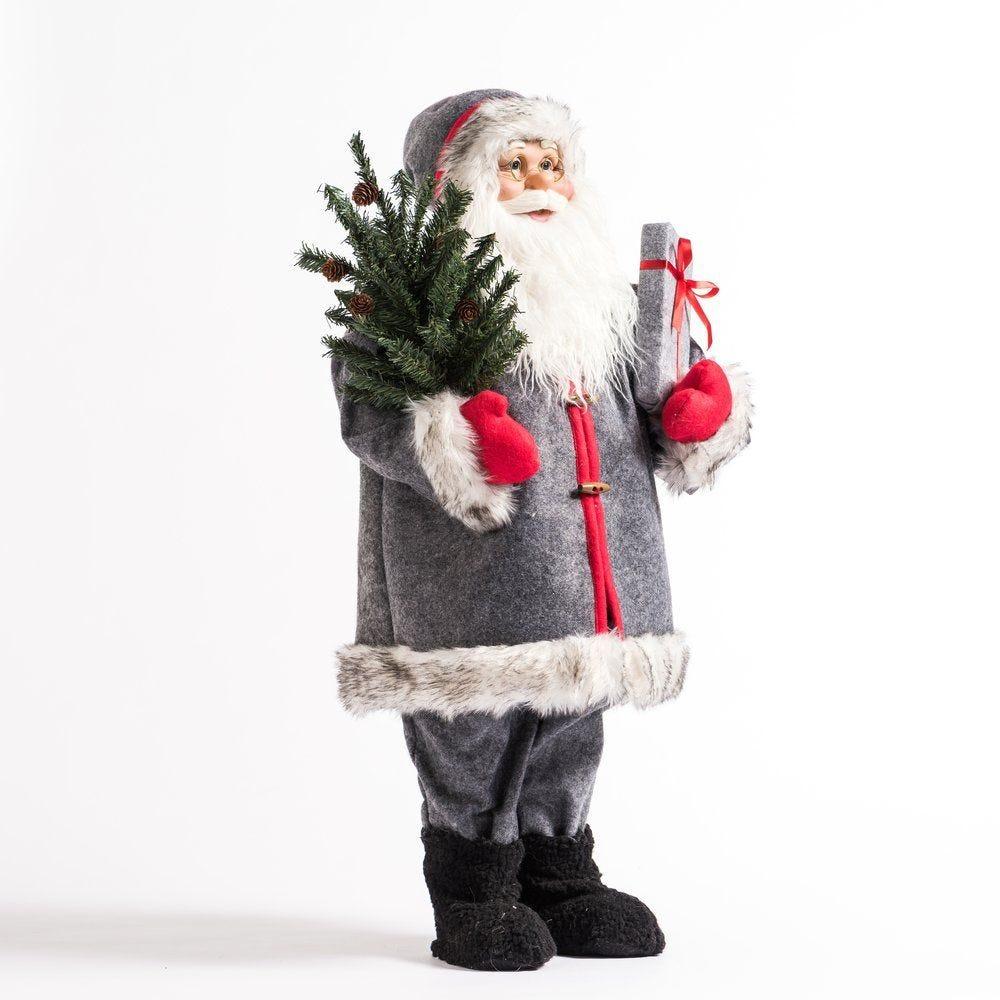 Père noël gris H 84 cm avec sapin et cadeau (photo)