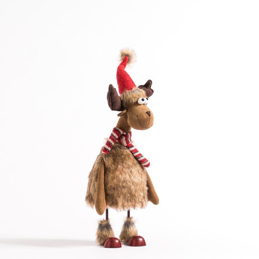 Elan comique marron avec écharpe rayée H 67 cm (photo)