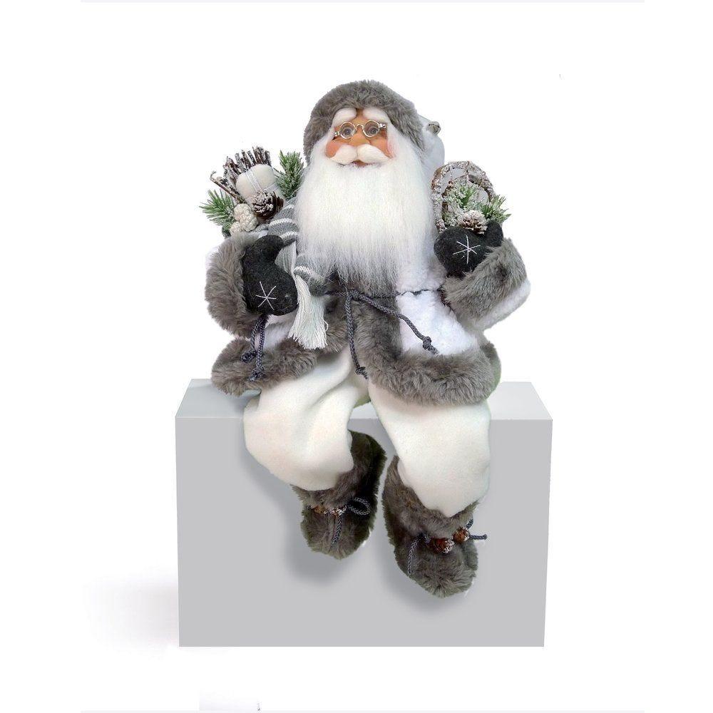 Père Noel blanc et gris assis L 20,5 x H 32,5 cm (photo)