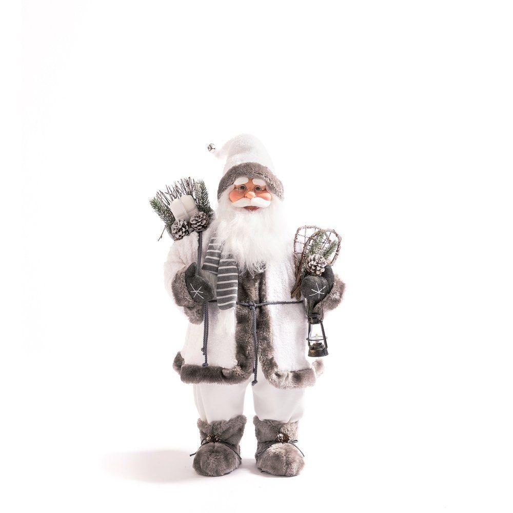 Père Noel blanc et gris avec raquettes H 78 cm