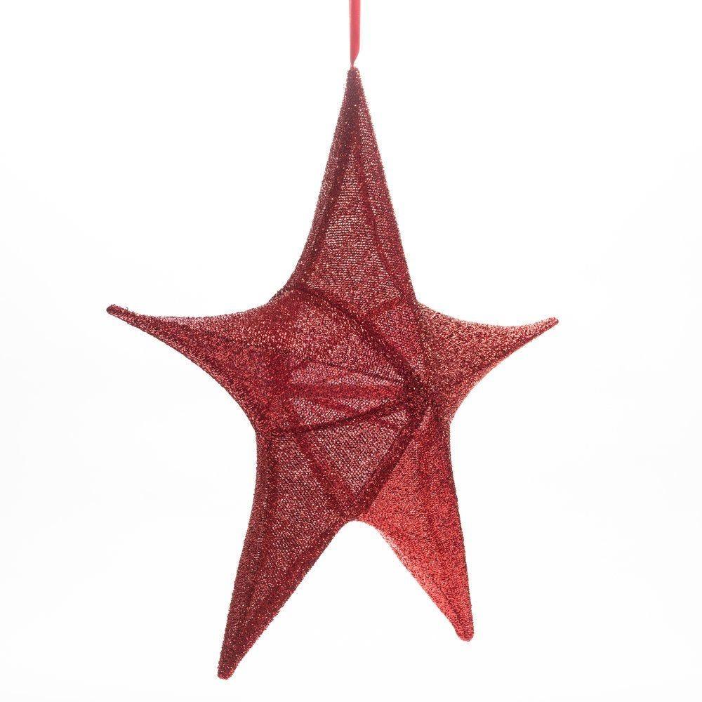 Etoile 3D pliable en tissu rouge pailleté D 65cm (photo)