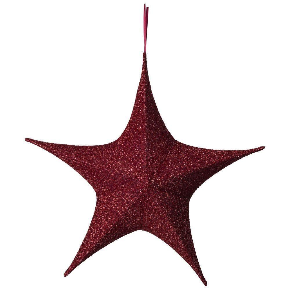 Etoile 3D pliable en tissu rouge pailleté D 80cm (photo)