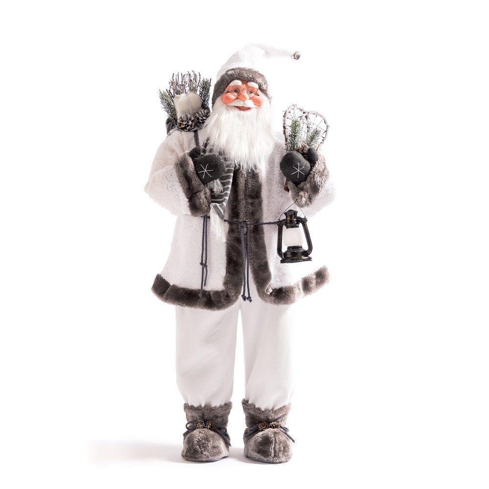 Père Noel blanc et gris H 115 cm avec raquettes et lanterne (photo)