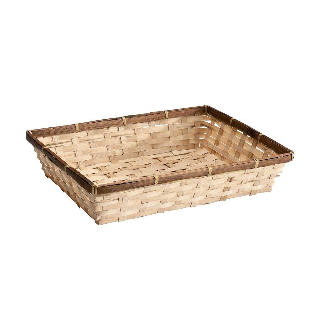 Panier bambou rectangulaire - L 32 x P 24 x H 7 cm (photo)
