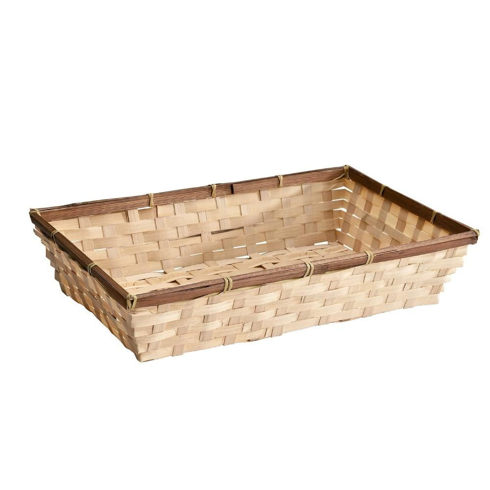 Panier bambou rectangulaire - L 38 x P 24 x H 8 cm (photo)