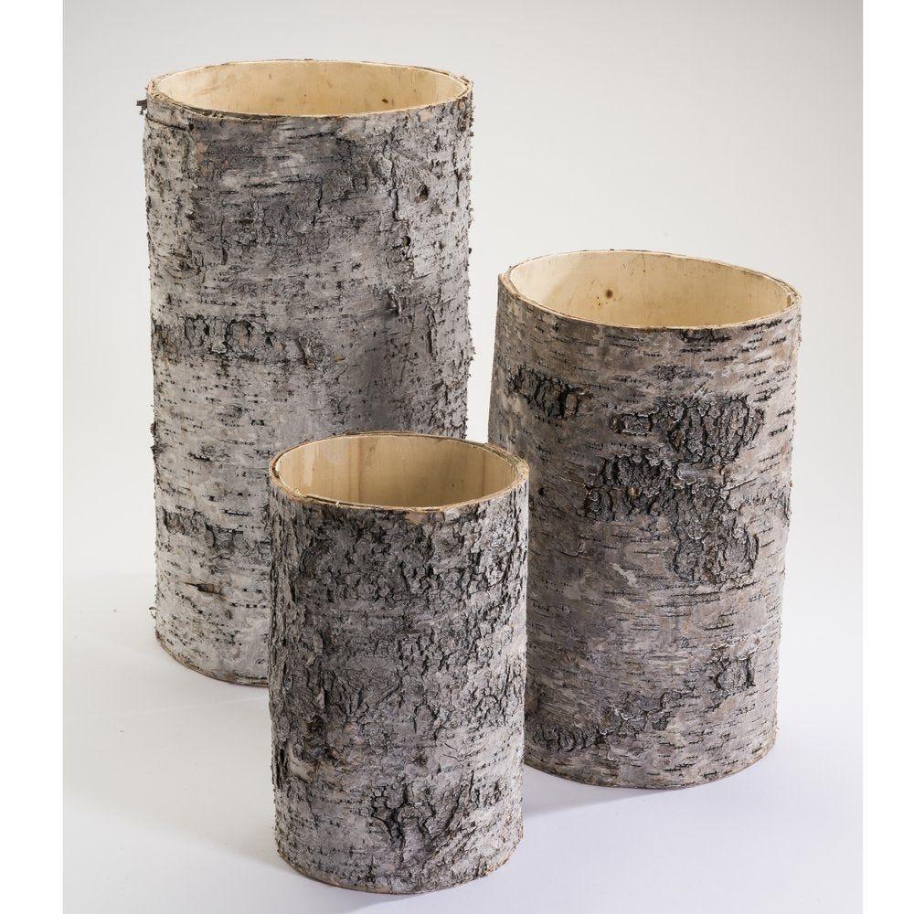 Tronc bois creux D.22x40cm + D.19x30cm + D.14.5x23cm - set de 3 (photo)