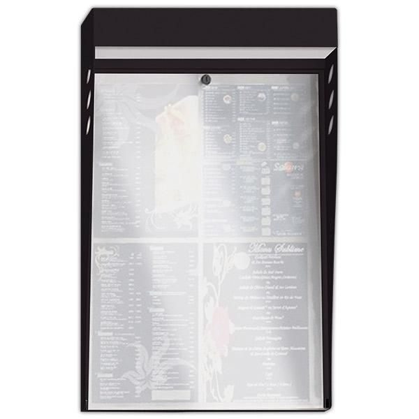 Porte-menu lumineux led multicolore mural métal forgé 4 pages noir (photo)