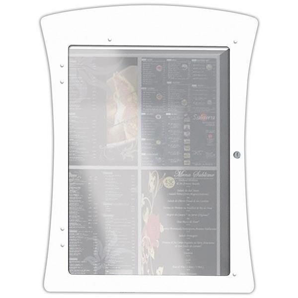Porte-menu lumineux led mural pvc Dandy 4 pages blanc (photo)