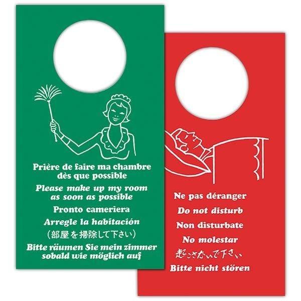 Pancarte ne pas déranger recto/verso en 6 langues 11x20 cm (photo)