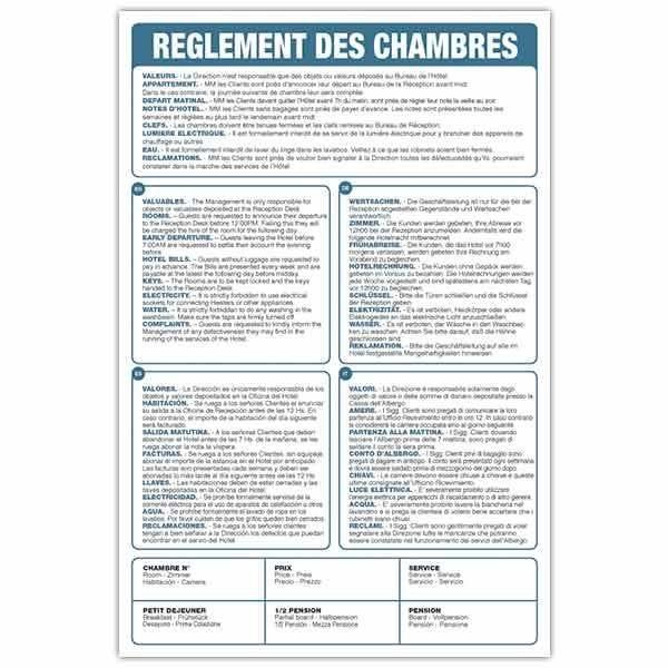 Pancarte new règlement des chambres multi-langues 20x30 cm (photo)