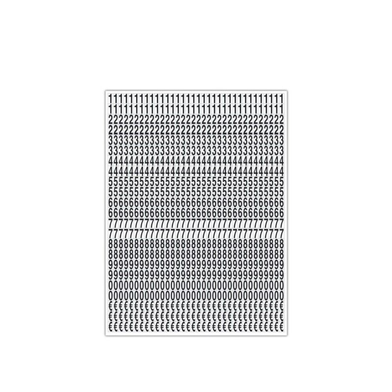 Planche de chiffres noirs adhésifs 1.9 cm pour tarifs 35 x 50 cm (photo)