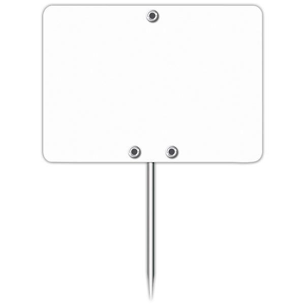 Etiquette blanche vierge avec pique inox 7 x 5 cm par 10