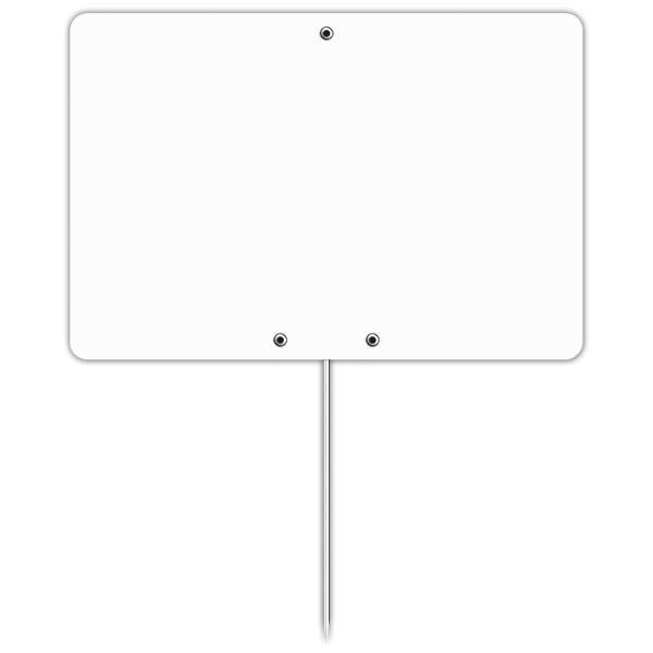 Etiquette blanche vierge avec pique inox 15 x 10 cm par 10