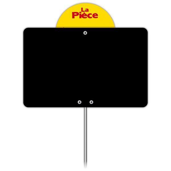 Ardoise vierge avec disque et pique inox 12 x 8 cm par 10 (photo)