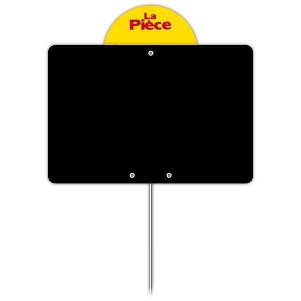 Ardoise vierge avec disque et pique inox 10 x 15 cm par 10 (photo)