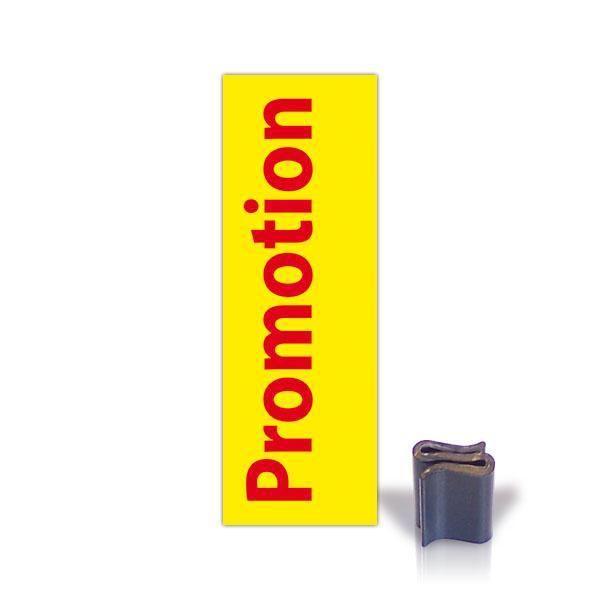 Etiquette bandeau vertical promotion avec clip par 25 (photo)