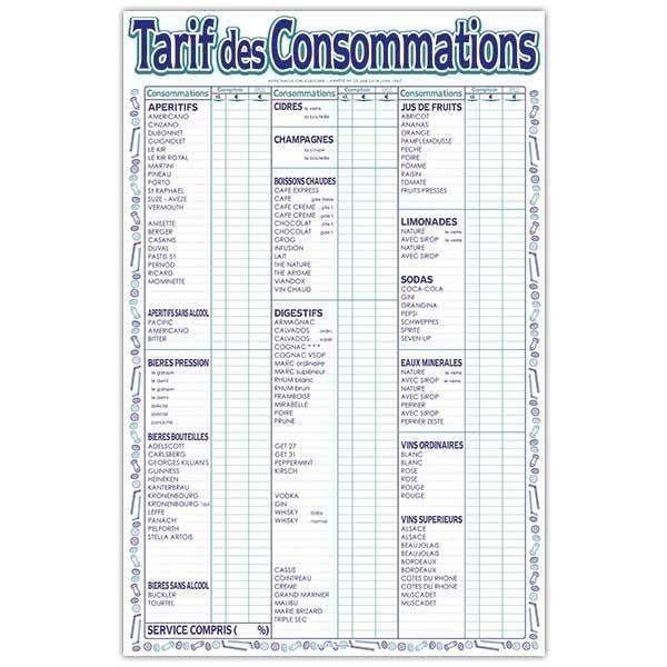 Tarif des consommations 32 x 49 cm (photo)