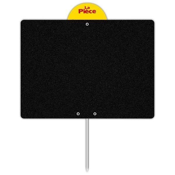 Etiquette ardoise noire épaisse calipro 20 x 15 cm à pique à disque (photo)