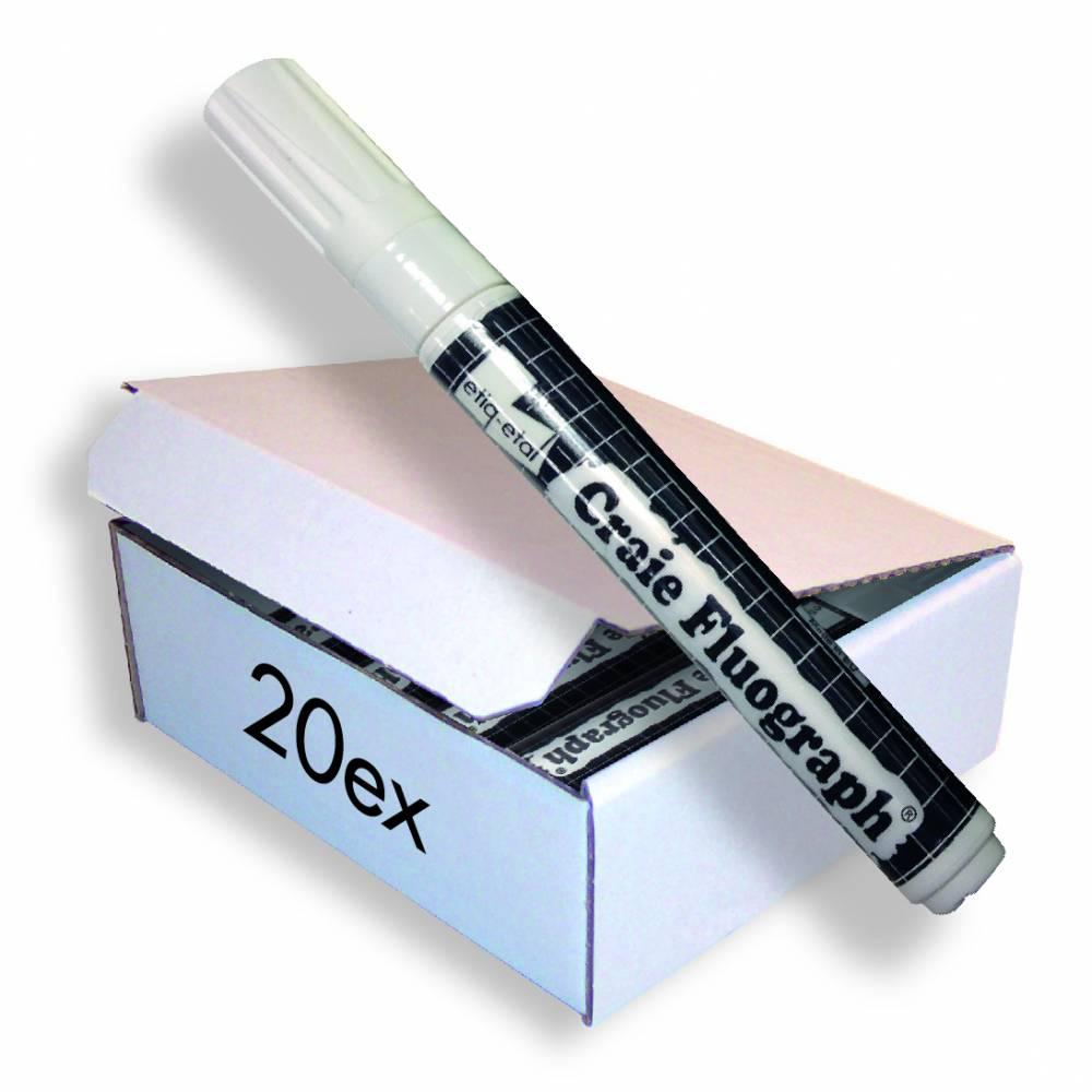 Feutre craie fluo blanc petit modèle par 20 (photo)