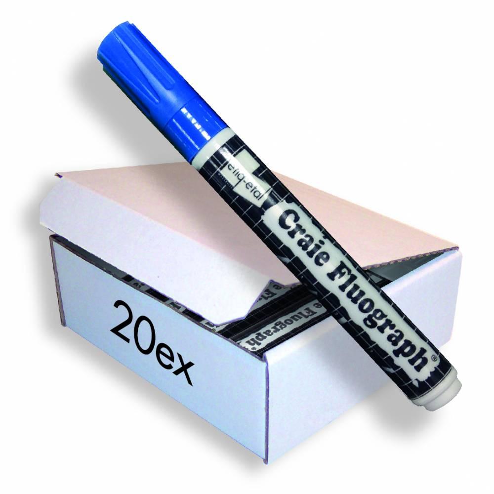 Feutre craie fluo bleu petit modèle par 20 (photo)