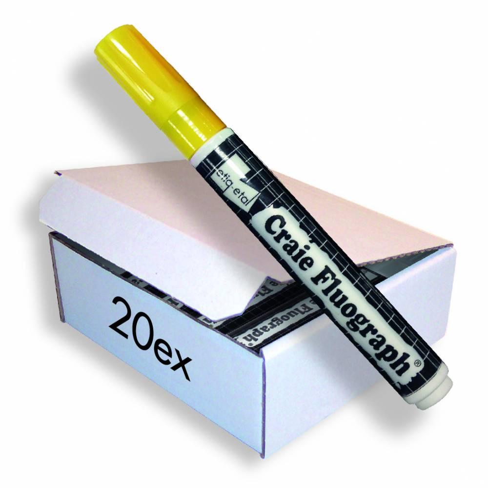 Feutre craie fluo jaune petit modèle par 20 (photo)