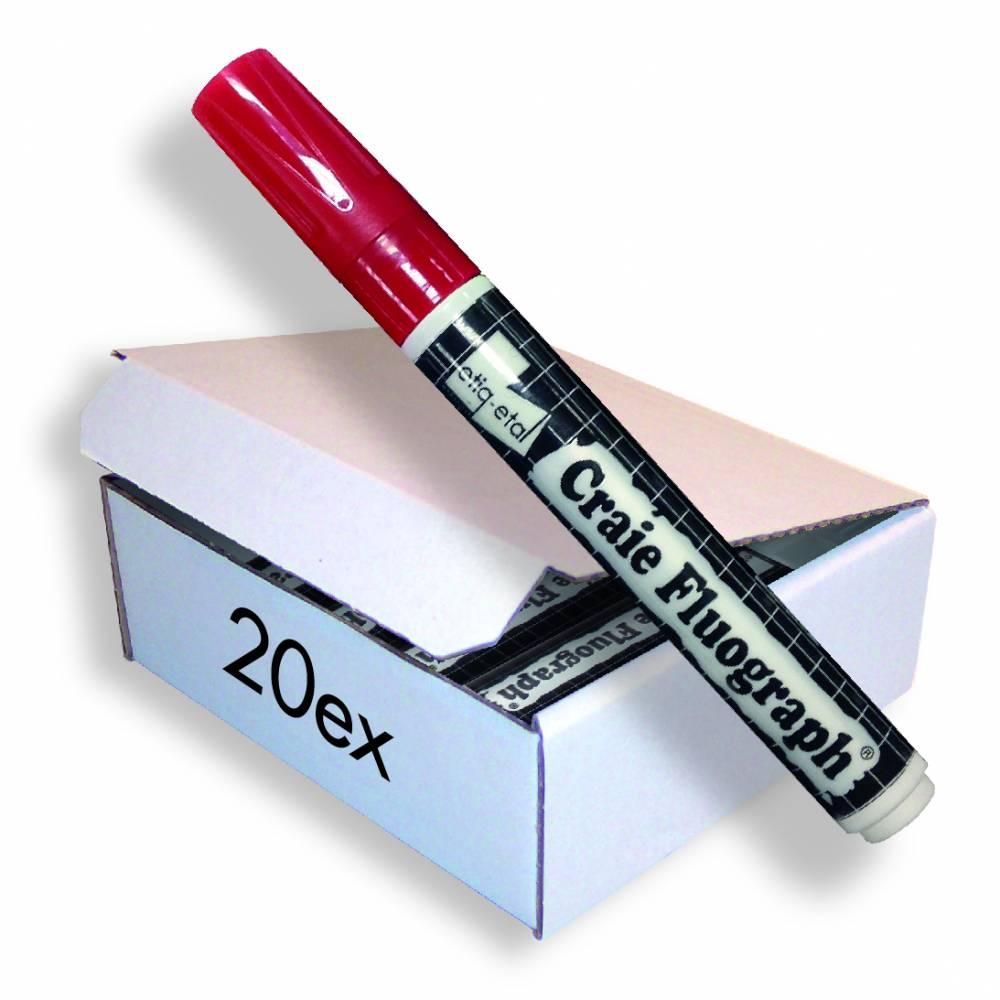 Feutre craie fluo rouge petit modèle par 20 (photo)