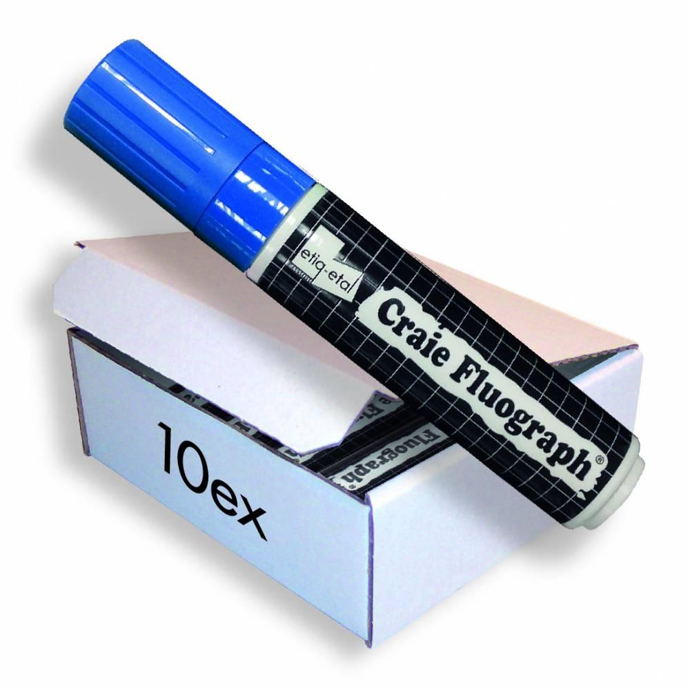 Feutre craie fluo bleu grand modèle par 10 (photo)