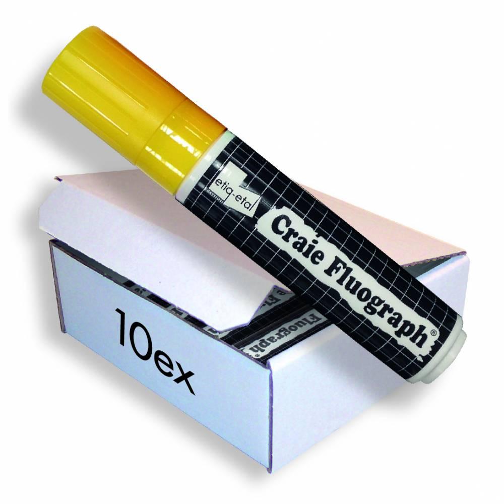 Feutre craie fluo jaune grand modèle par 10 (photo)