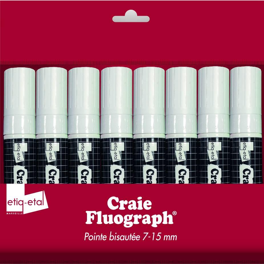 Feutre craie blanc grand modèle par 8 (photo)