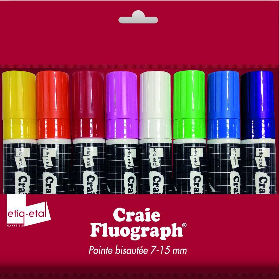 Feutre craie 8 couleurs différentes grand modèle par 8 (photo)