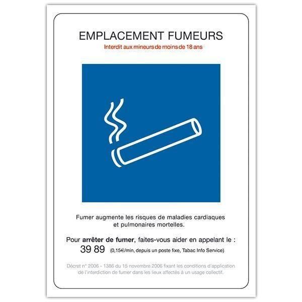 Pancarte rigide Emplacement fumeur avec fil nylon 15 x 21 cm (photo)
