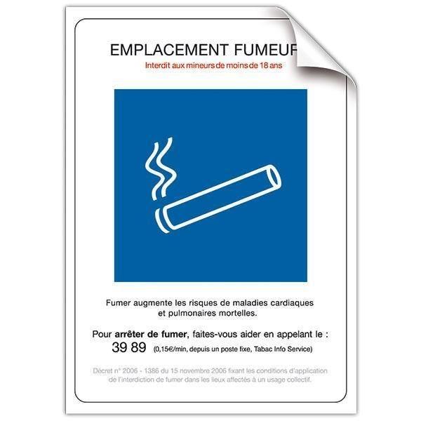 Pancarte adhésive Emplacement fumeur avec fil nylon 15 x 21 cm (photo)