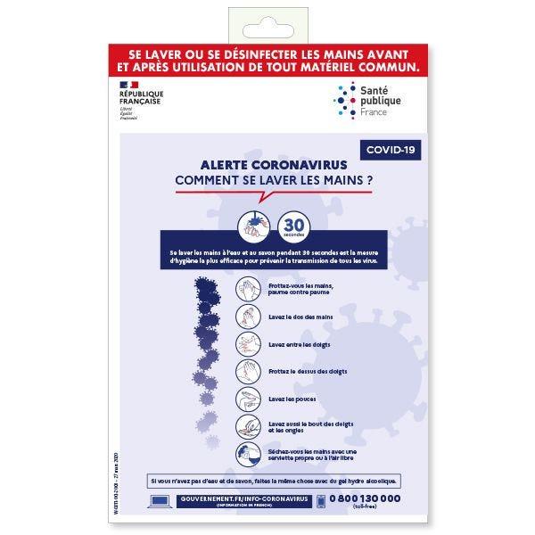 Affiche informative pour le personnel  Se laver les mains PVC 200 x 300