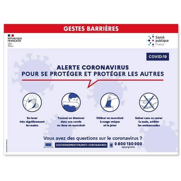 Affiche informative Adhésive Gestes barrières 400 x 300