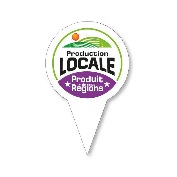 Etiquettes avec pique en forme gm production locale (photo)