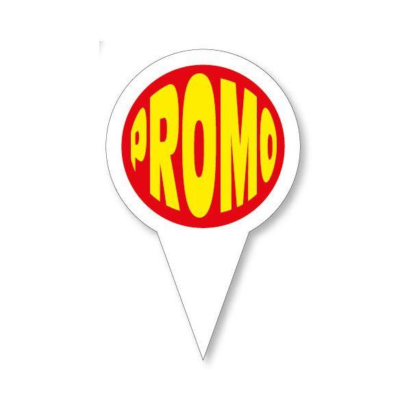 Etiquettes avec pique en forme gm promo (photo)