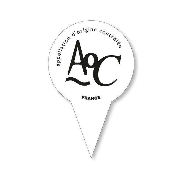 Etiquettes avec pique en forme gm aoc (photo)