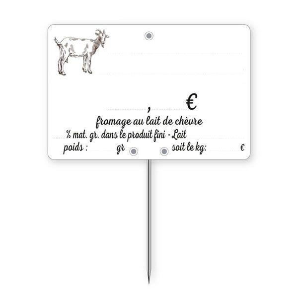 Etiquettes crémerie à pique lait chèvre 10 x 7 cm