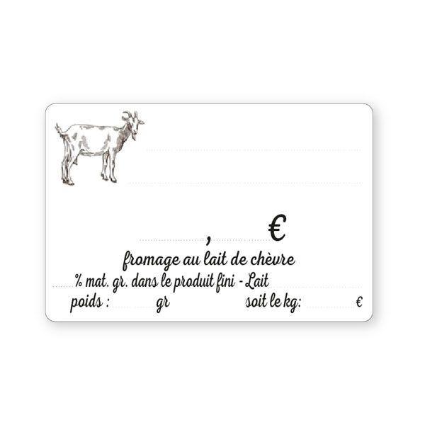 Etiquettes crémerie lait chèvre 10 x 7 cm (photo)