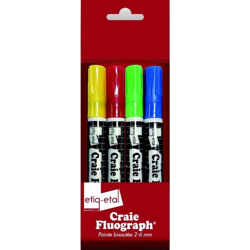 4 craies fluograph couleur (bleu, rouge, vert, jaune) (photo)