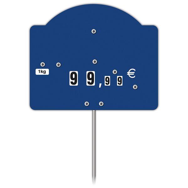 Etiquette contact top bleu à roues et à pique - par 50 (photo)